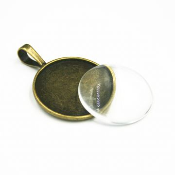 1pce x 25mm Make your own pendant kit - oval - antique brass - C8008079